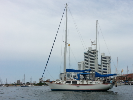 Our ride anchored in the Cartagena Marina