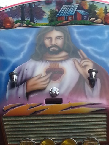 Portobelo is home of the annual Christo Negro festival. This was painted on a bus... I don't think it was intended to be funny...