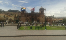 Cusco Plaza de Armas - Rainbow flag is the Flag of the Incas
