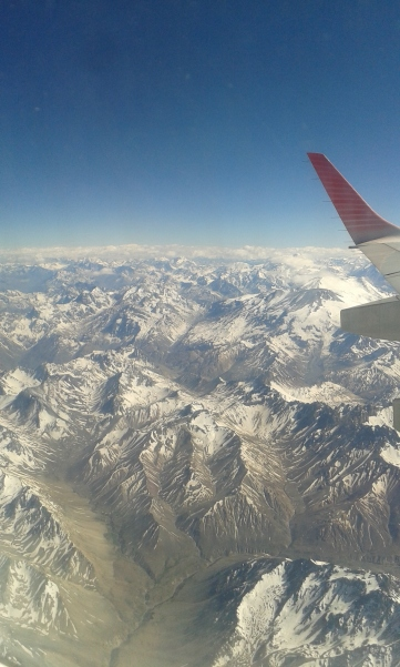 View over the Andes between Santiago and Buenos Aires. Free flight from my rewards program. Thanks, Chase.