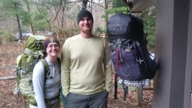 Weighing our bags at Amicolola Falls State Park