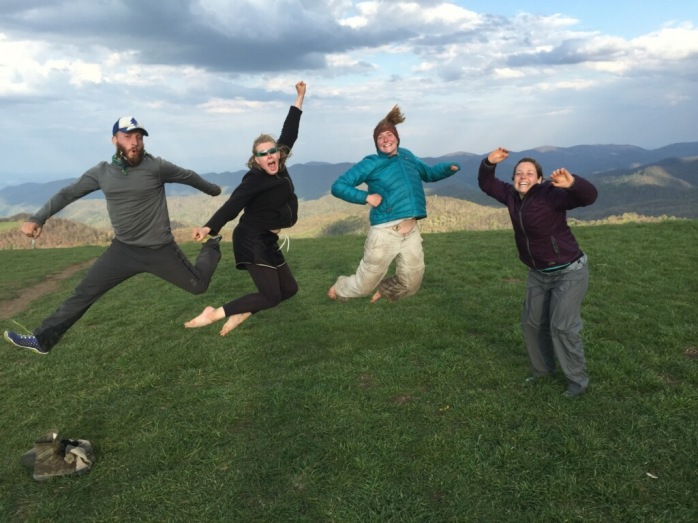 Epic shot of four Appalachian Trials bloggers on Max Patch