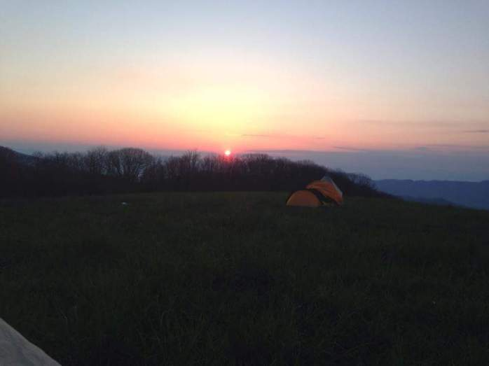 Sun rises over Max Patch
