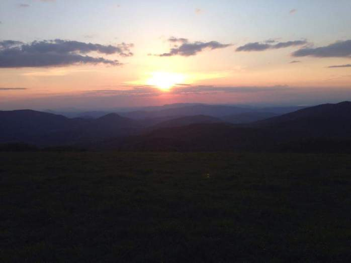 Sun sets over Max Patch