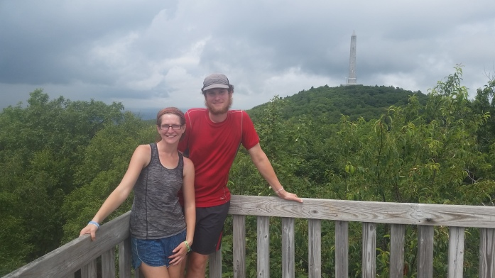 Tower upon NJ's highest point, menacing clouds pushed us on quickly