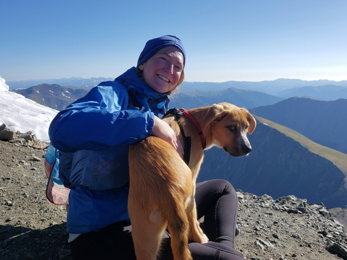 Dog on my lap on Torreys Peak