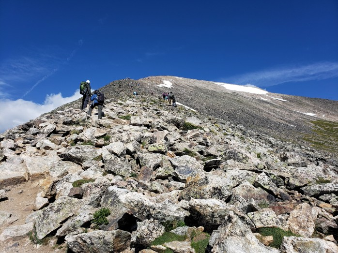 Hiking up Quandary Peak