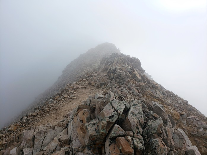 Into the mist on Mount Sherman
