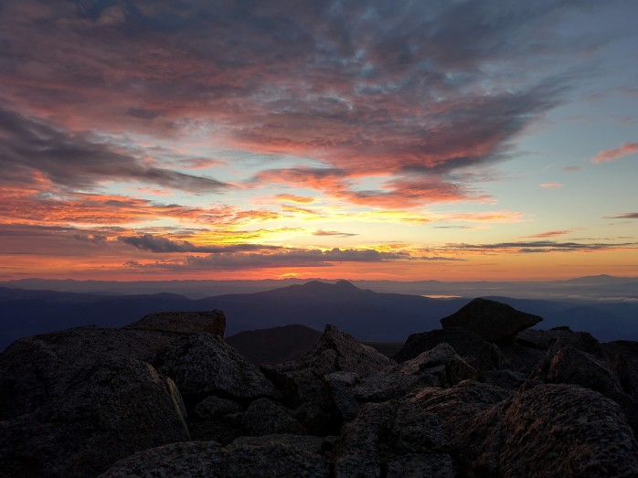 Sunrise on top of Mt Harvard
