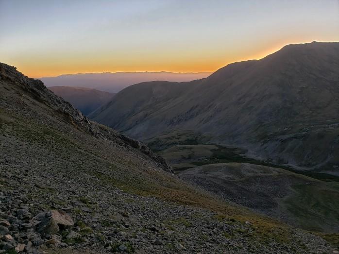 Sunrise behind Mt Belford